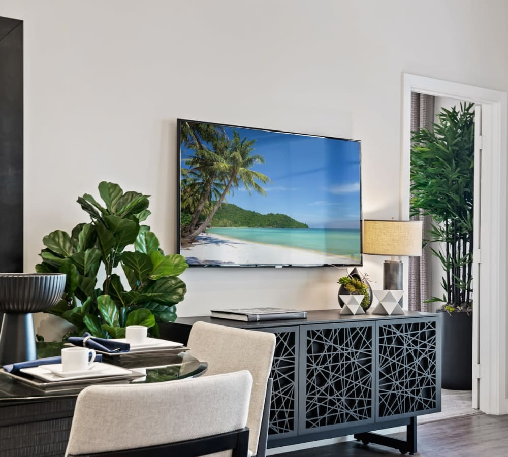 Beautiful office space with tv and modern decor at 6600 Main in Miami Lakes, Florida