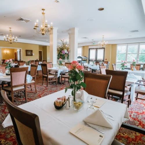 Main dining room at Wesley Gardens in Montgomery, Alabama.