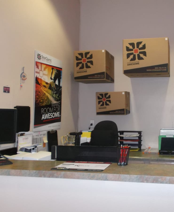 Interior of the leasing office at StorQuest Self Storage in Tucson, Arizona