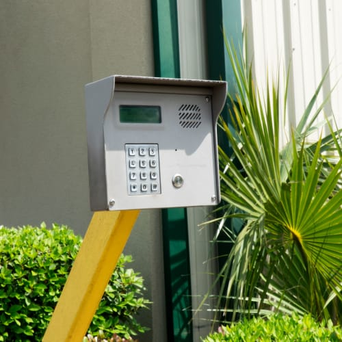Keypad at the entrance gate of Red Dot Storage in Hammond, Louisiana