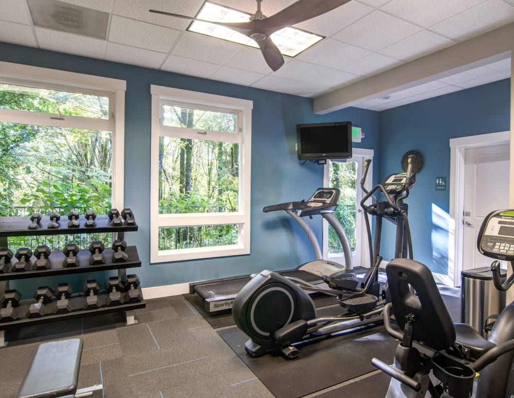 Fitness center with a view of the surrounding forest at Sofi at Forest Heights in Portland, Oregon