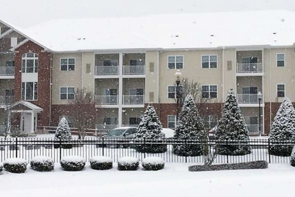 Snow covered exterior of Marquis Place in Murrysville, Pennsylvania