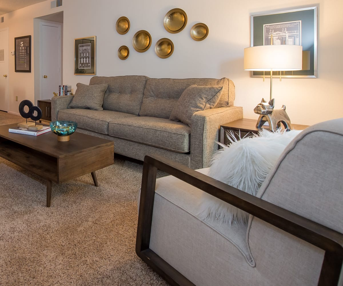 Living room at Raintree Apartments in Wichita, Kansas
