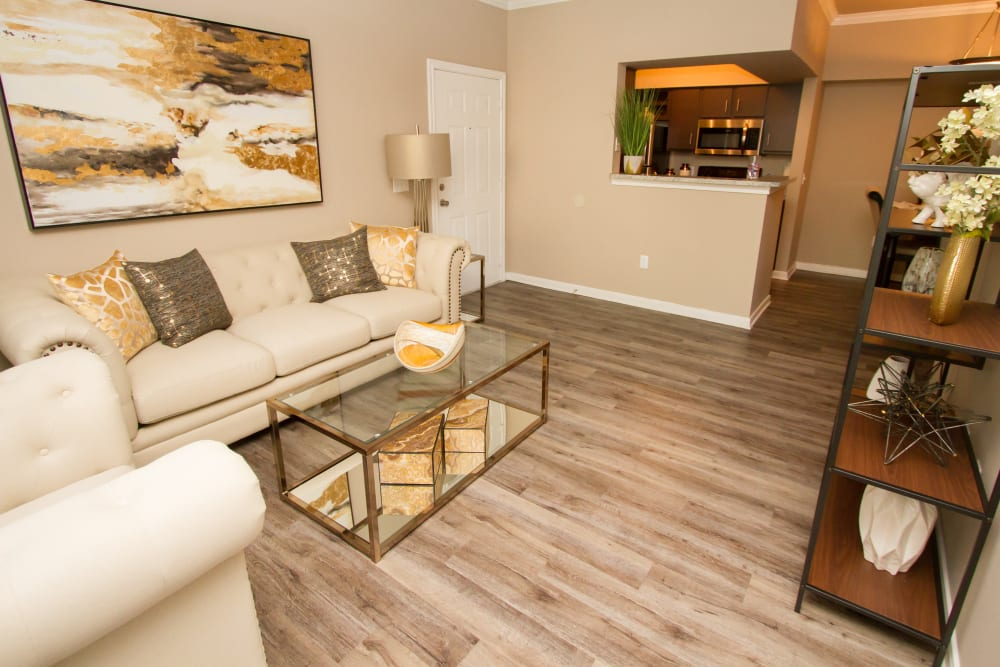apartment living room and kitchen with bar at Veranda in Texas City, Texas