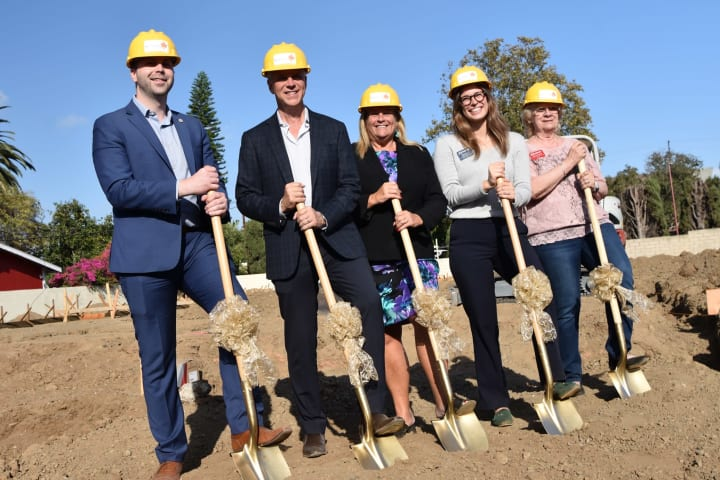 Breaking ground at Seasons Memory Care at Rolling Hills with the Torrance Chamber of Commerce and state, county representative