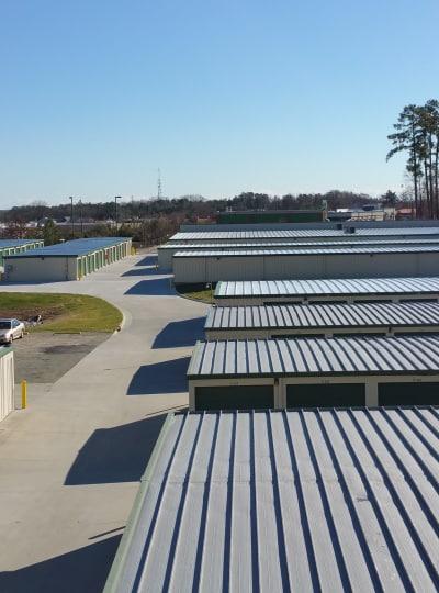 Row of storage units at Cardinal Self Storage in Graham, North Carolina