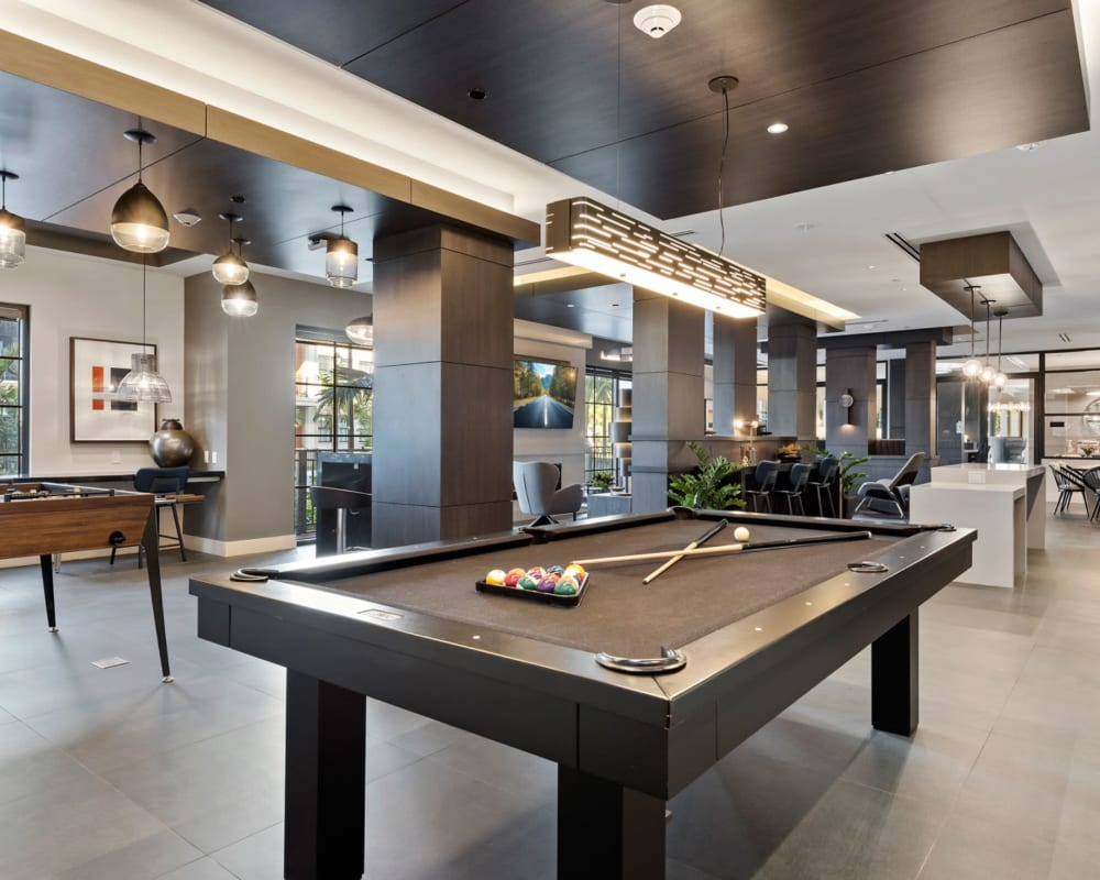 Clubhouse billiards table at 6600 Main in Miami Lakes, Florida