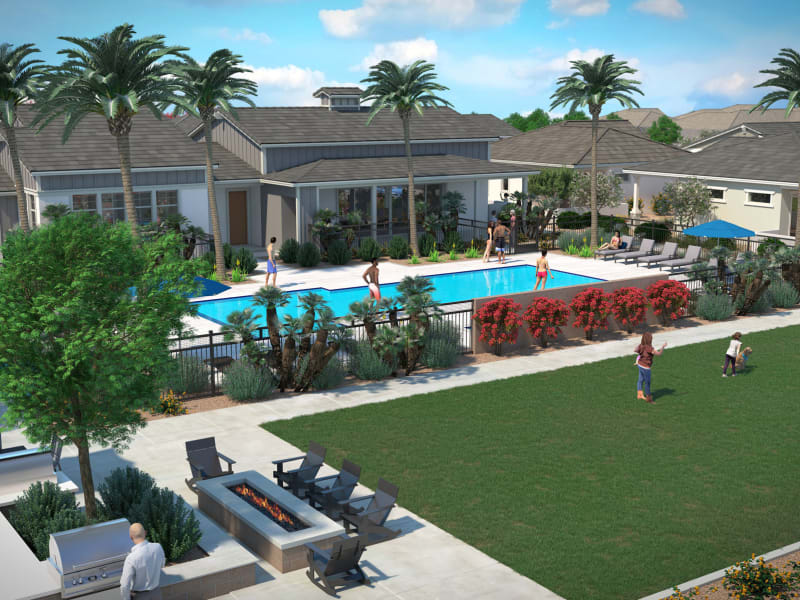 Low aerial rendering of our pool and community activity area at Peralta Vista in Mesa, Arizona