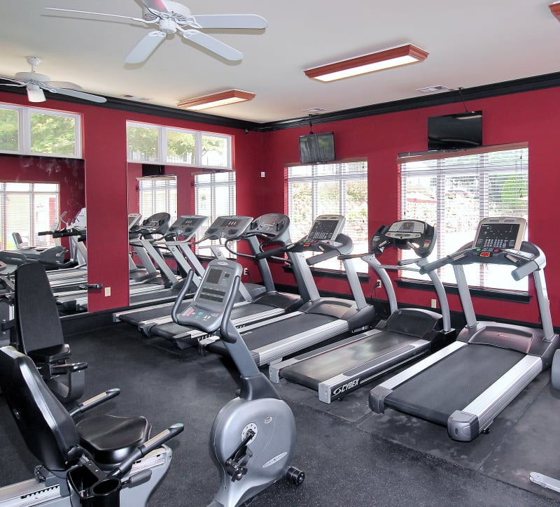 Treadmill section of fitness center at The Hamptons at Town Center in Germantown, Maryland