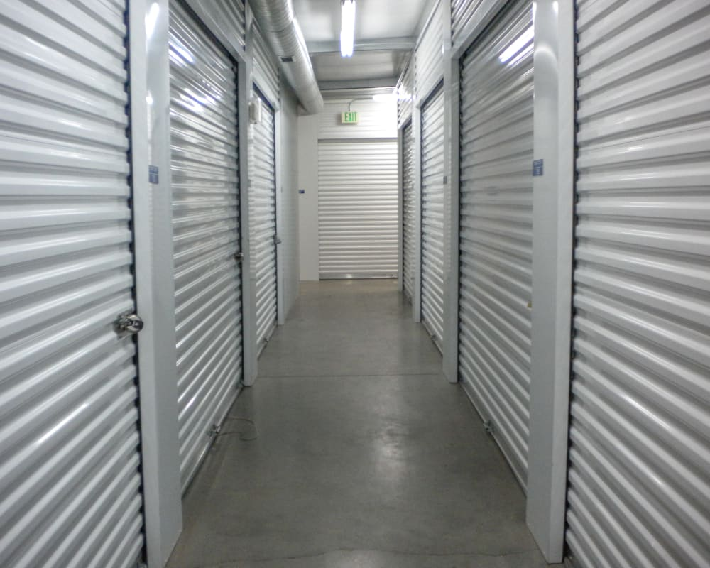 White doors on interior climate-controlled storage units at STOR-N-LOCK Self Storage in Sandy, Utah