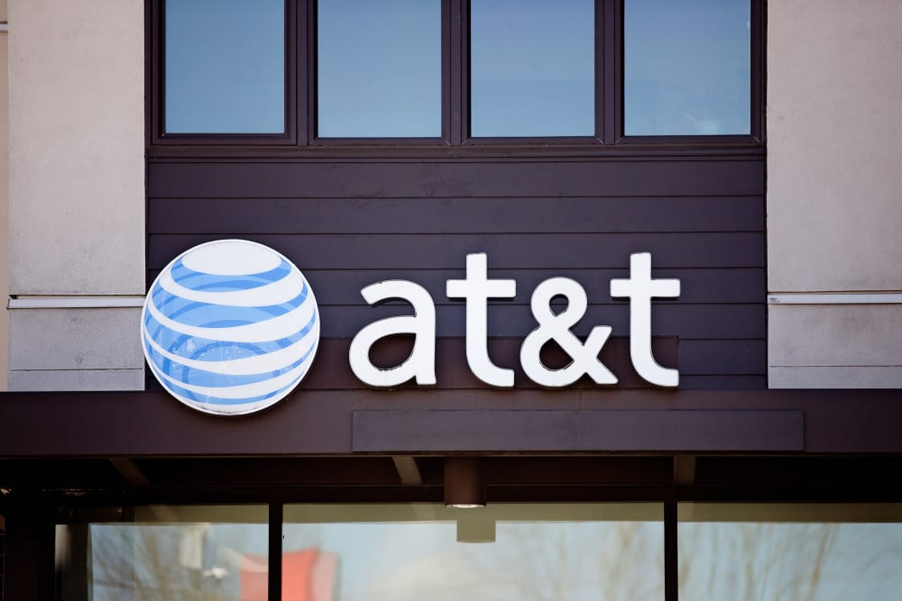 AT&T sign outside their retail location near Grant Park Village