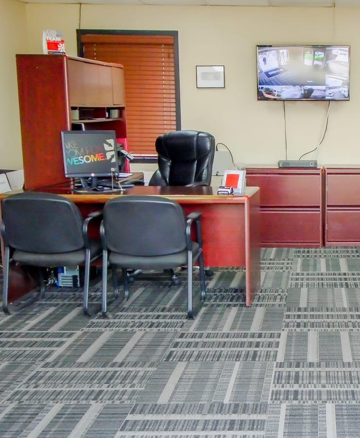 Interior of the leasing office at StorQuest RV and Boat Storage in Moreno Valley, California