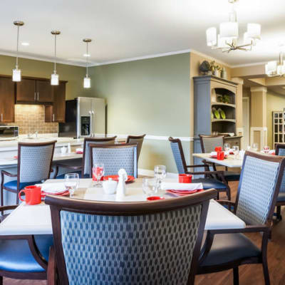 Modern bistro amenities for memory care residents at The Sanctuary at West St. Paul in West St. Paul, Minnesota