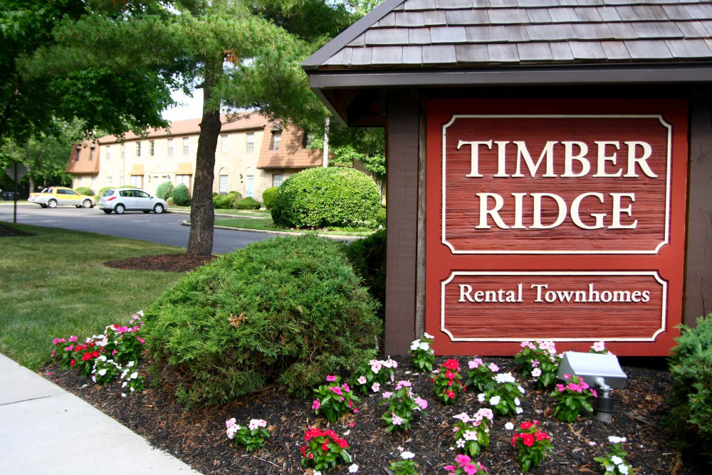 Our sign welcoming residents and their guests to Timber Ridge in Lindenwold, NJ