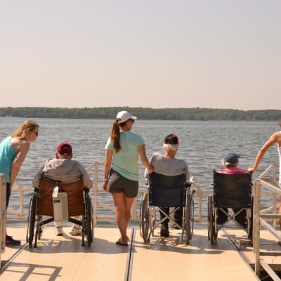 Residents enjoying the view near Ebenezer Ridges Campus in Burnsville, Minnesota