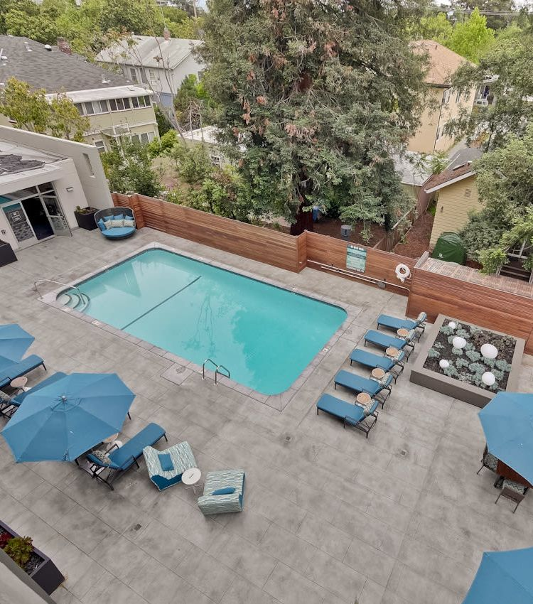 View of the swimming pool area from an upper floor at Mia in Palo Alto, California