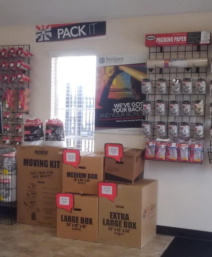 Packing supplies available at StorQuest Self Storage in Sugar Land, Texas