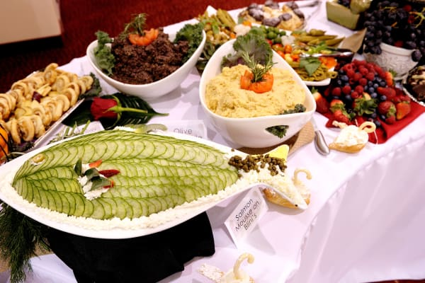 Delicious meal options presented in a buffet at Alexis Estates Gracious Retirement Living in Allen, Texas