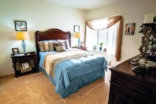 Spacious bedroom at Camden Springs Gracious Retirement Living in Elk Grove, California