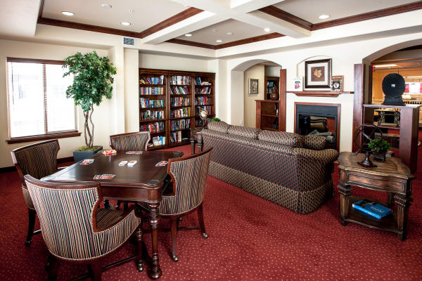 Fireside lounge at Cedarview Gracious Retirement Living in Woodstock, Ontario
