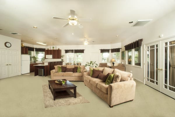 Well-lit living area at Mission Ranch Apartments in Chico, California