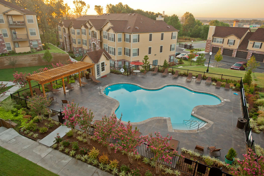 Aerial view of the swimming pool at Tuscany Hills at Nickel Creek in Tulsa, Oklahoma