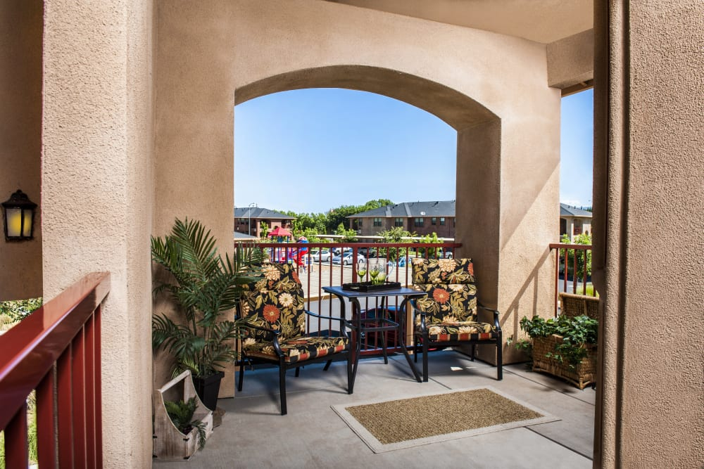 Private outdoor patio with a beautiful view at Villa Risa Apartments in Chico, California