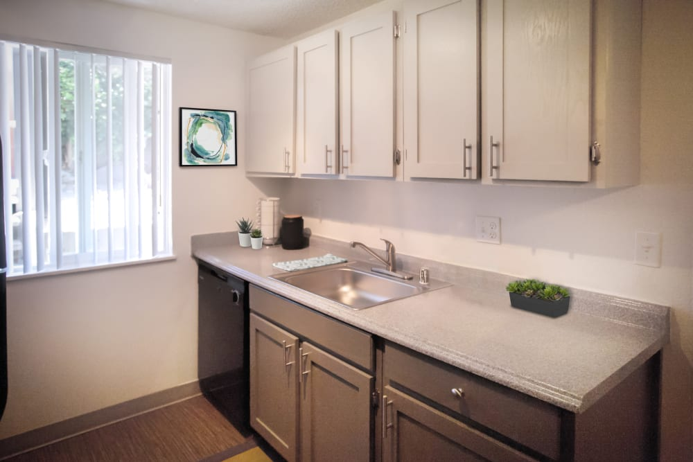 Ample cabinetry and storage space in a model apartment's kitchen at Haven Apartment Homes in Kent, Washington
