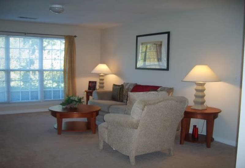 Heritage Apartments offers a modern living room in Hillsborough, North Carolina