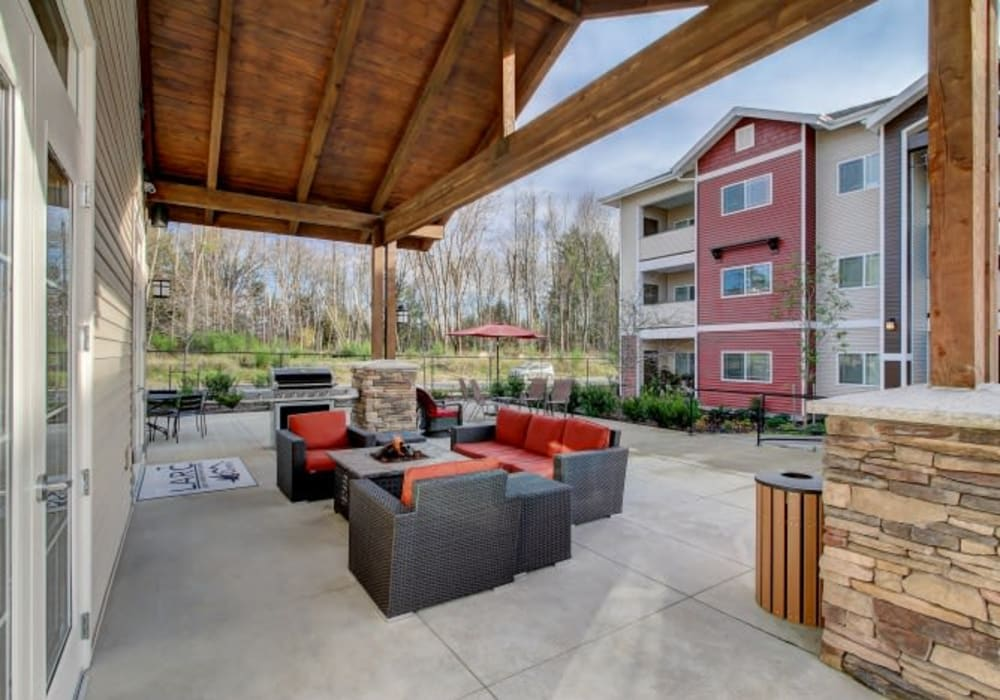 Large outdoor patio with comfortable seating at LARC at Olympia in Olympia, Washington