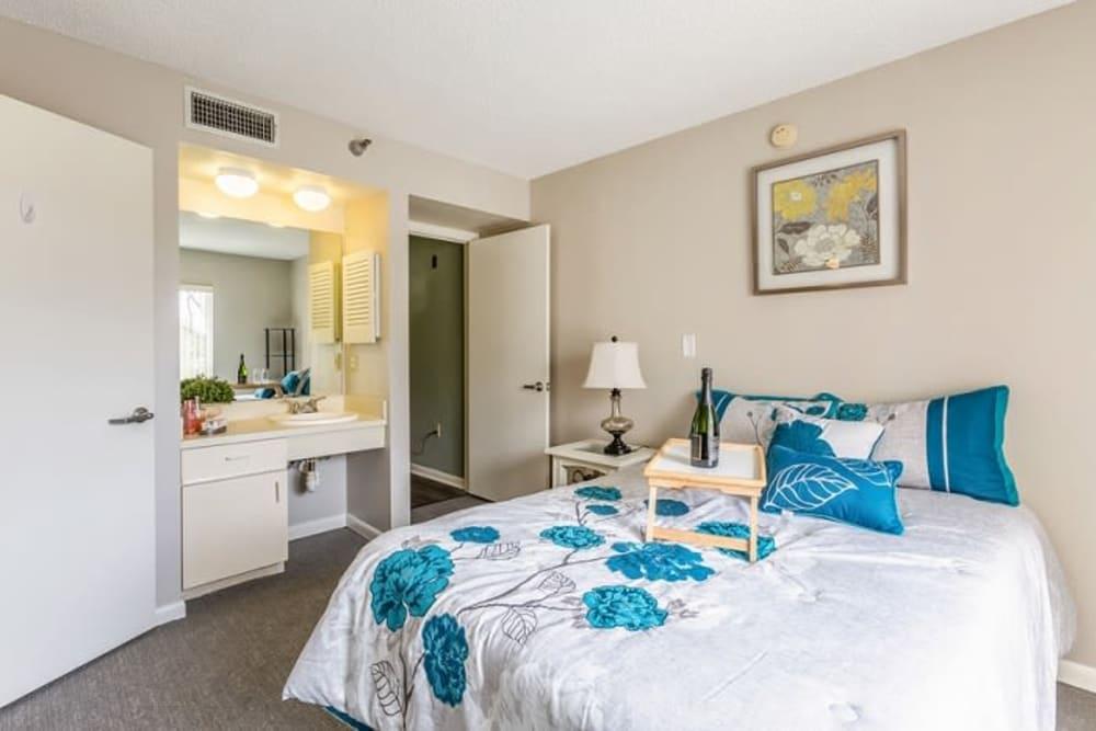 A furnished bedroom at Grand Villa of Sarasota in Sarasota, Florida