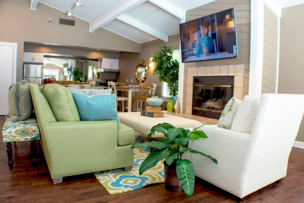 Community clubhouse with comfortable couches at Laurel Pines Apartments in Richmond, Virginia