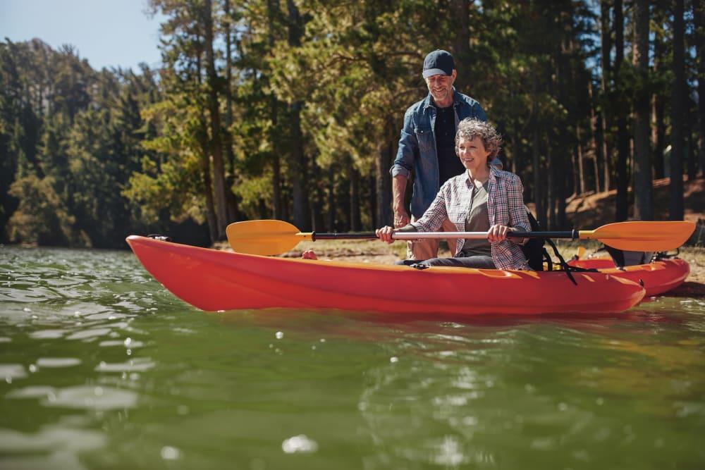 A couple in a canoe near Trojan Storage in Portland, Oregon