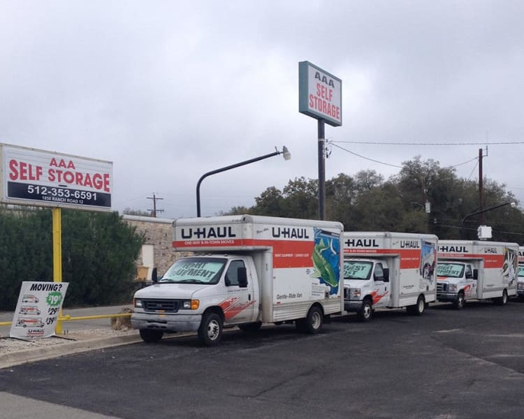 Moving truck rentals at Pack Rat Storage in Whitehouse, Texas