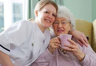 Senior living resident with nurse in South Carolina