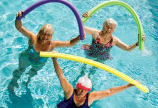 Pool fun for active senior living residents in Louisiana