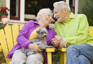 Louisiana seniors sitting with their pet