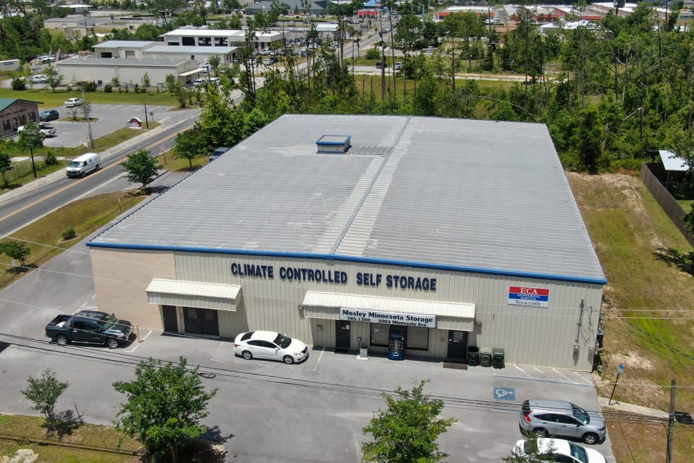 An aerial view of Best American Storage in Lynn Haven, Florida