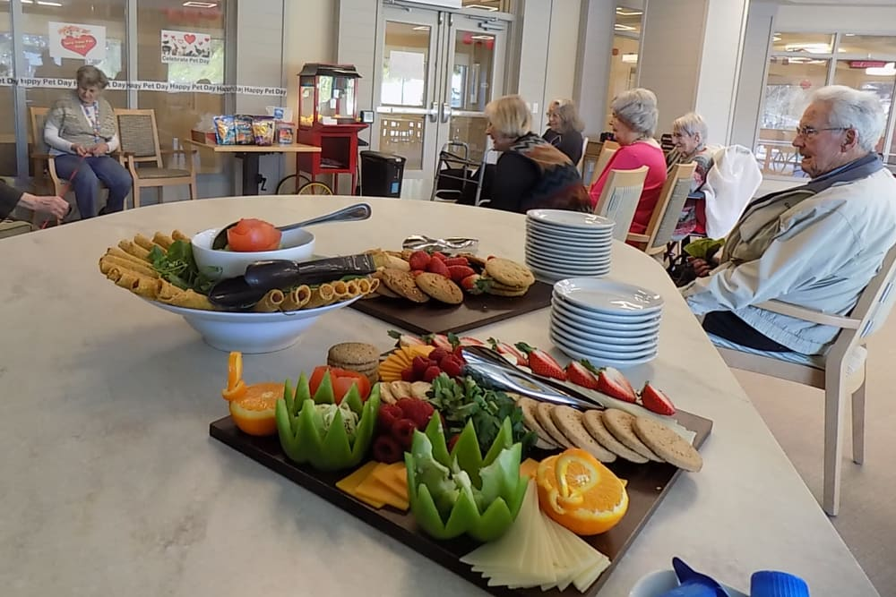 Lunch served at an event at Merrill Gardens at Rockridge in Oakland, California.