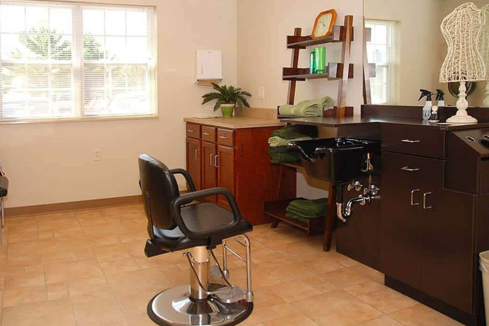 Resident hair salon at Milestone Senior Living in Eau Claire, Wisconsin.