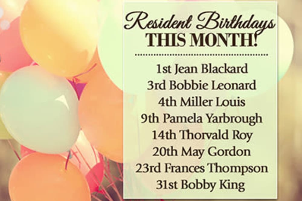 Sample resident birthdays announcement at Wheelock Terrace in Hanover, New Hampshire