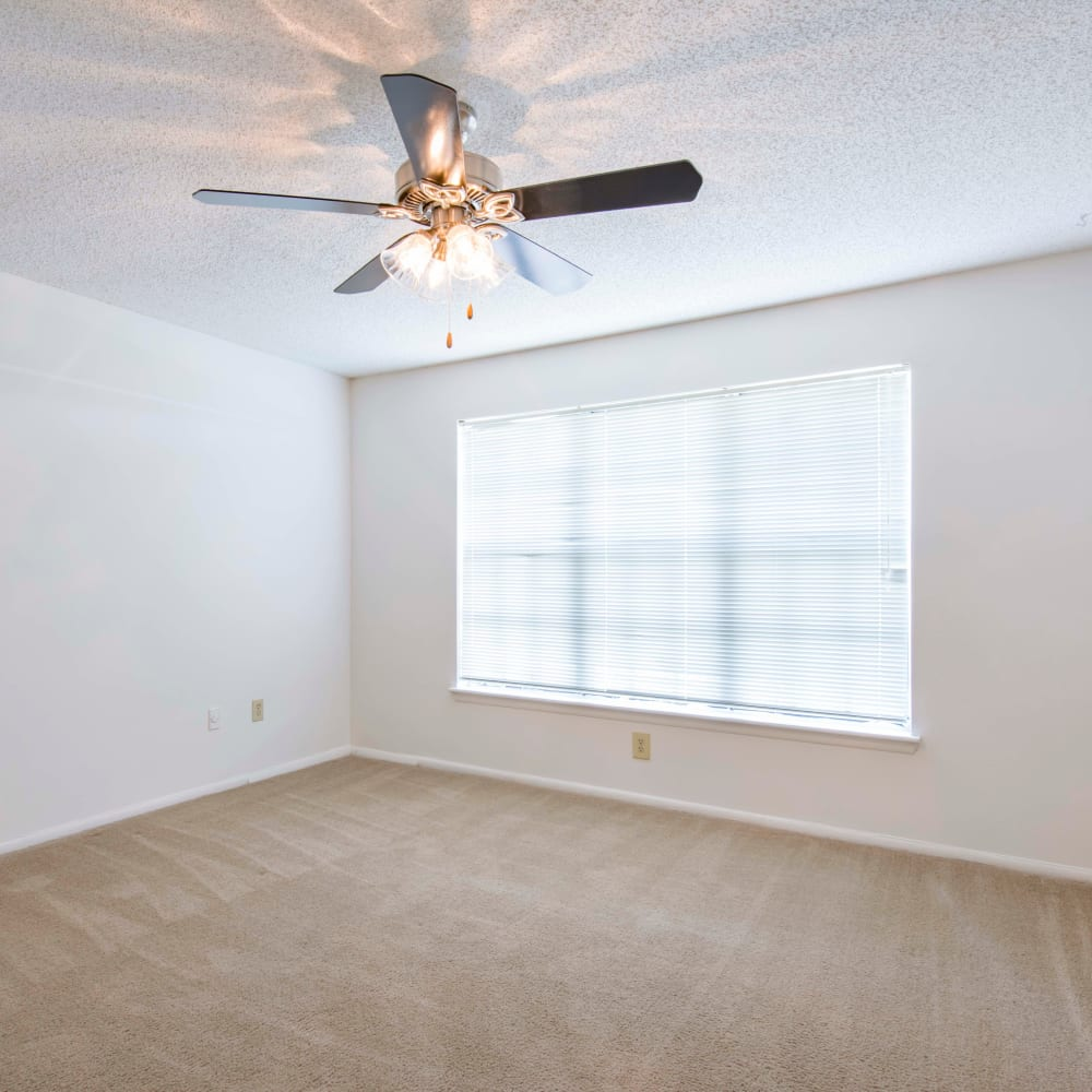 Bedroom with a ceiling fan and plush carpeting at Compass in Melbourne, Florida