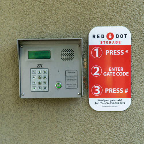 Keypad at the entrance gate of Red Dot Storage in Mandeville, Louisiana