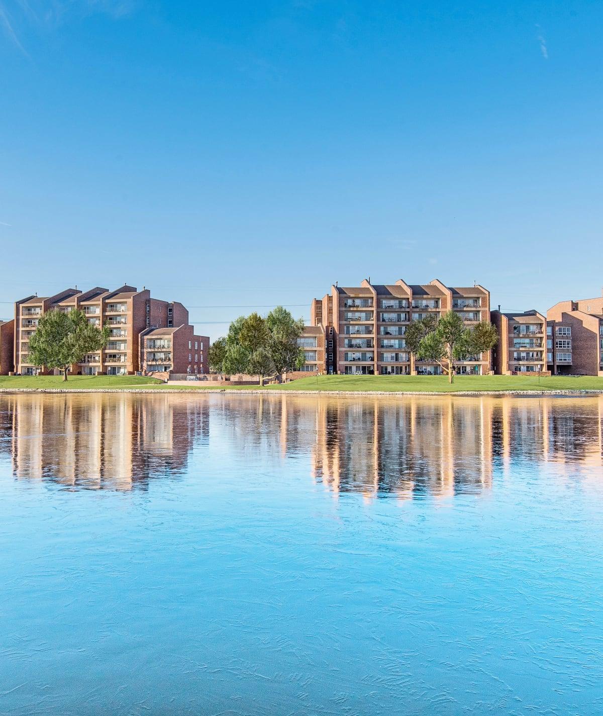 Regency Lakeside Apartment Homes sits on the shore of Lake Regency in Omaha, NE