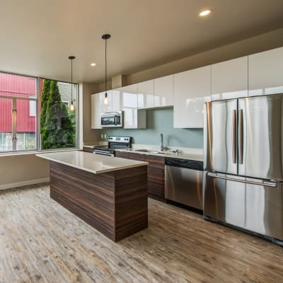 Modern kitchen with an urban design at Verse Seattle in Seattle, Washington
