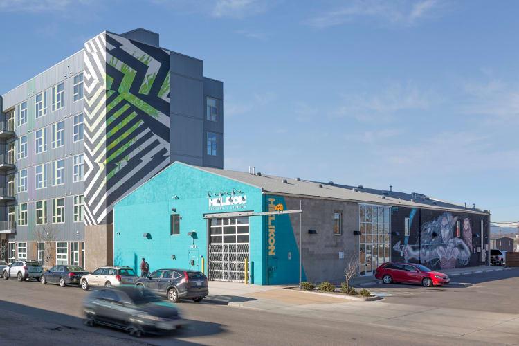 Modern funky exterior at RiDE at RiNo in Denver, Colorado
