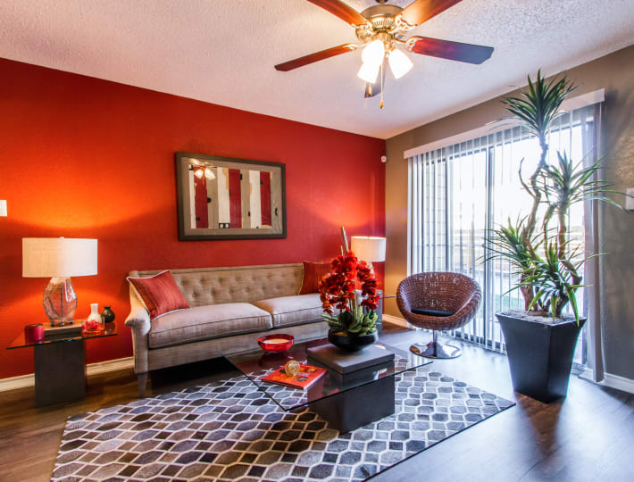Living room layout at Sausalito Apartments in College Station, Texas