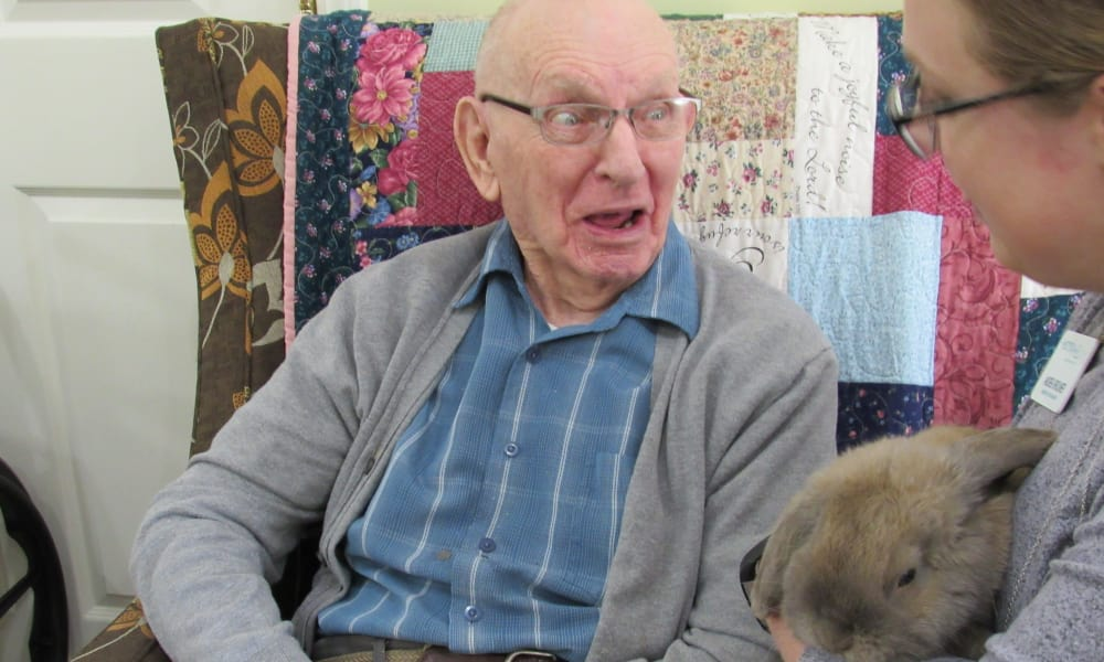 Elderly man talking to staff member holding a rabbit