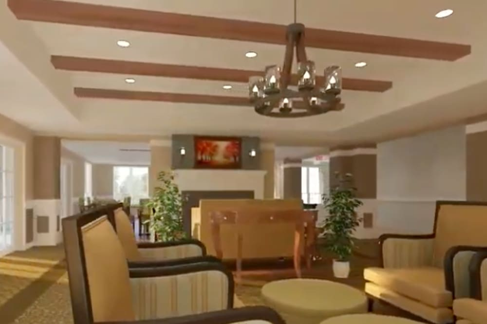 A rendering of the lobby at Harmony at Brentwood in Brentwood, Tennessee