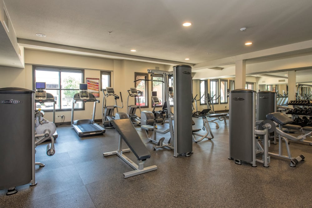 Well-equipped onsite fitness center at Paragon at Old Town in Monrovia, California